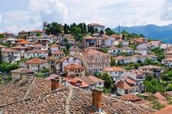 Ohrid stad i Makedonien Arkivbilder