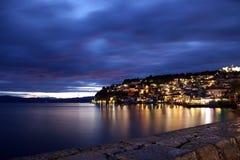 Ohrid stad på natten Royaltyfri Foto