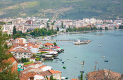 Ohrid town in Macedonia cityscape with lavender flowers Royalty Free Stock Photos