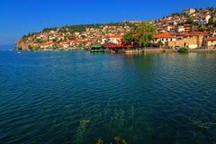 Ohrid w Macedonia - jeziorny widok Zdjęcie Stock
