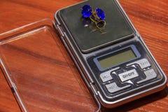 Ohrringe auf digitalen Skalen Stockbild