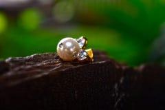 Ohrringe der echten Perle schön und teuer als Schmuck für Damen lizenzfreie stockfotografie