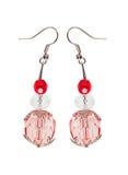 Ohrringe im roten Glas mit silbernen Elementen Weißer Hintergrund Lizenzfreie Stockfotos