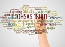 OHSAS 18001 word cloud and hand with marker concept