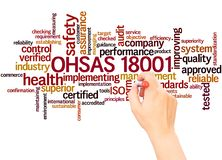 OHSAS 18001 word cloud hand writing concept