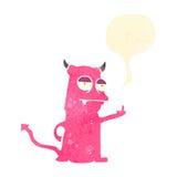ohyfsat litet monster för retro tecknad film stock illustrationer