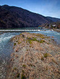 The Oi River from Togetsukyo Bridge. View of the Oi River taken from the Togetsukyo Bridge in Kyoto, Japan Royalty Free Stock Photography
