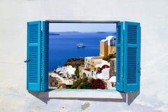 Oia村庄传统结构Santorini海岛的 库存照片
