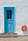 Oia村庄传统结构Santorini海岛的 图库摄影