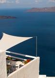 Oia村庄传统结构Santorini海岛的 免版税库存照片