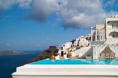 Oia村庄传统结构Santorini海岛的 免版税库存图片