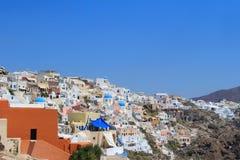 Oia村庄在圣托里尼,希腊 库存照片