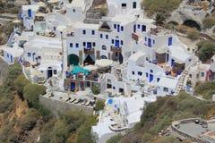 Oia村庄在圣托里尼,希腊 库存图片