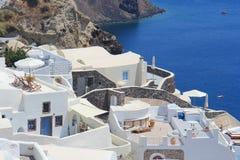 Oia村庄在圣托里尼,希腊 免版税库存照片