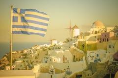 Oia村庄的葡萄酒图象圣托里尼海岛的,希腊 免版税库存图片