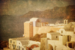 Oia村庄,希腊的葡萄酒图象Santorini的 库存图片