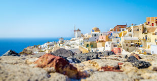 Oia村庄结构Santorini海岛的 库存图片
