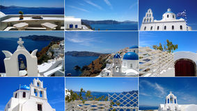 Oia的图象拼贴画在圣托里尼海岛上的在一个明亮的晴天 美丽的白色大厦和明亮的蓝色海 库存照片