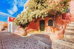 Oia美丽如画的街道视图在海岛圣托里尼,希腊上的 库存图片