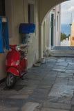 Oia镇,圣托里尼海岛,希腊都市风景  库存照片