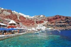 Oia,圣托里尼海岛,希腊港  免版税图库摄影