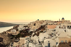 OIA,圣托里尼海岛, GREECE-SEPTEMBER 02,2014 :日落在Oia, Sant 免版税库存图片