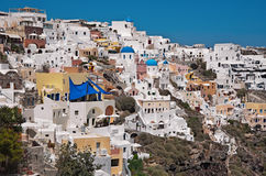 Oia,圣托里尼,希腊建筑学  免版税库存图片