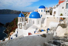 Oia εκκλησίες θόλων, Santorini Στοκ εικόνες με δικαίωμα ελεύθερης χρήσης
