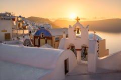 Oia χωριό το πρωί, Santorini, Ελλάδα Στοκ εικόνα με δικαίωμα ελεύθερης χρήσης