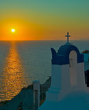 oia над заходом солнца santorini Стоковые Фото