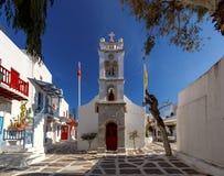 Oia 希腊教会的传统建筑 库存照片