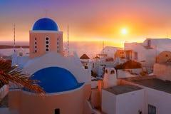 日落的,圣托里尼,希腊Oia 库存图片