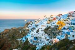 日落的,圣托里尼,希腊Oia 免版税库存照片