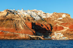 Oia and Ammoudi Beach in Santorini, Greece Royalty Free Stock Photography