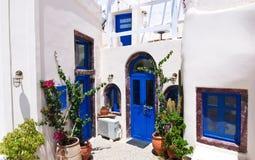 Oia apartments on Santorini island, Greece. Royalty Free Stock Image