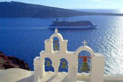 Cruise bells azure sea Santorini  Stock Image