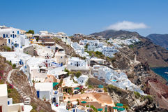 Oia architecture and sea on the Island Santorini, Greece. Royalty Free Stock Photos