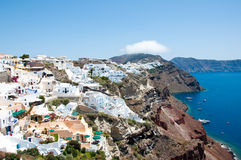 Oia architecture and sea on the Island Santorini, Greece. Stock Photography