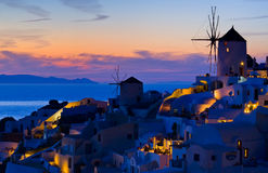 Oia at blue hour Stock Images