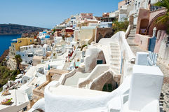 Oia captain's houses on the island of Thera (Santorini), Greece. Stock Photos