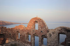 Oia castle at sunrise Stock Images