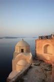 Oia castle at sunrise Stock Image
