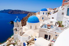 Oia church with blue domes on the island of Santorini, Greece Royalty Free Stock Image