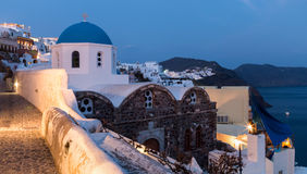 Oia. City Oia on Santorini in Greece. Just after sunset Royalty Free Stock Photo
