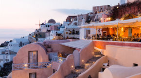 Oia. City Oia on Santorini in Greece. Just after sunset Royalty Free Stock Photos