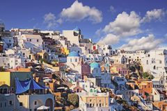 Oia,colorful town in Greek island Santorini Royalty Free Stock Images
