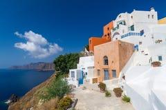 Oia. Colorfull buildings in oia village, santorini Royalty Free Stock Photo