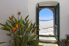 Oia Courtyard Stock Photography