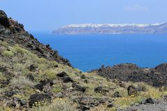 Oia dal vulcano, Santorini, Grecia Fotografie Stock Libere da Diritti