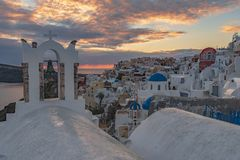 Oia-Dorf, Santorini Insel stockbilder